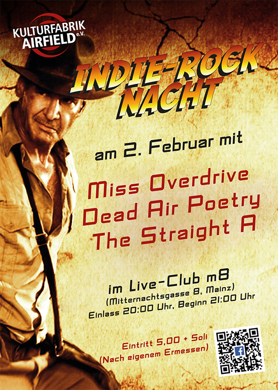 Indie-Rock-Nacht mit Miss Overdrive, Dead Air Poetry und Straight A